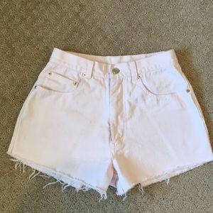 Light Pink Denim High-Waisted Shorts